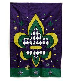 Harlequin Mardi Gras Fleur De Lis Large Flag