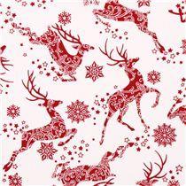 weißer Rentier Schnee Stern Weihnachts Stoff Winter Essentials III