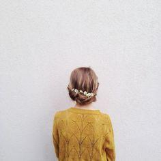 mustard yellow sweater / floral headpiece / plain background