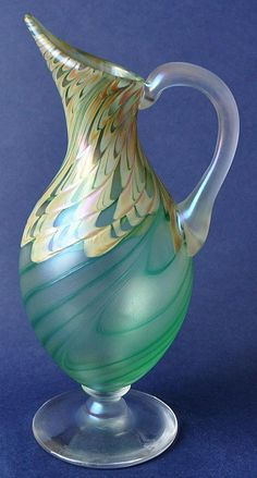 Green Footed Jug by Richard Golding Station Glass http://www.bwthornton.co.uk/isle-of-wight-richard-golding-bath-aqua-glass.php