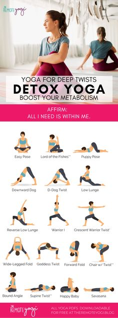 Use this printable yoga PDF to twist out the spine and naturally aid digestion, internally massage the organs, and naturally detox with deep breathing. Fitness Workouts, Yoga Fitness, Yoga Routine, Pilates Workout Routine, Yoga Bewegungen, Yoga Flow, Yoga Meditation, Yin Yoga, Evening Yoga