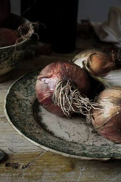 beautiful textures - onions on a crockery plate and an aged, distressed wooden table - every earthy!