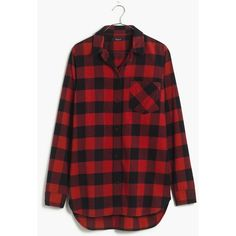 MADEWELL Flannel Ex-Boyfriend Shirt in Buffalo Check ($82) ❤ liked on Polyvore featuring tops, shirts, flannel, madewell, red, kilt red, flannel shirt, oversized boyfriend shirt, oversized tops and flannel tops