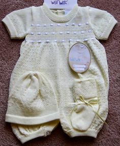 NWT Will/'beth Blue Knit 3pc Romper Bubble Newborn Hat Baby Boys Booties