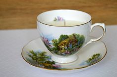 Upcycled Teacup Candle - Vanilla Scent - Royal Vale Ridgway Potteries - English Cottage - Vegan Soy Wax Candle - pinned by pin4etsy.com