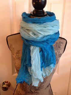 Oversized Light Weight Rayon Fabric Scarf dyed in an Ombre pattern in shades of Turquoise can be worn as a sarong by shorethingdesigns, $30.00