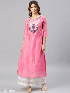 Kurtis & Kurtas Women's Chanderi Silk Pink A-line Floral Embroidered Kurti Fabric: Chanderi Silk  Sleeves: 3/4 Sleeves Are Included Size: S- 36 in, M- 38 in, L- 40 in, XL- 42 in, XXL- 44 in Length: Up To 48 in Type: Stitched Description: It Has 1 Piece of Women's Kurti Work: Embroidery Work Sizes Available: S, M, L, XL, XXL   Catalog Rating: ★4 (243)  Catalog Name: Women's Embroidered Chanderi Silk Kurtis CatalogID_134039 C74-SC1001 Code: 446-1092519-