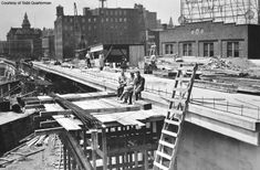 Construction of Rochester subway. Broad St. Bridge looking west from South Ave.