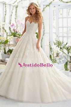 2016 Nueva vestidos de boda A-Line Novia Corte Con El Tren Net apliques cremallera Volver