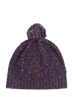 WOOL BLEND BEANIE HAT WITH POMPOM