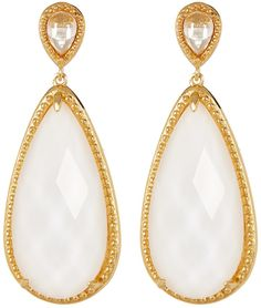 Savvy Cie 18k Gold Plated Simulated White Jade Teardrop & Cabochon Crystal…