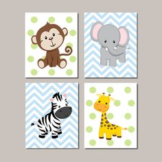 JUNGLE Nursery Wall Art ELEPHANT Giraffe by LovelyFaceDesigns