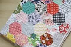 Olive Ray's Finished Hexagon Baby Quilt - English paper piecing, patchwork
