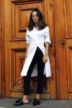 A long white shirt dress