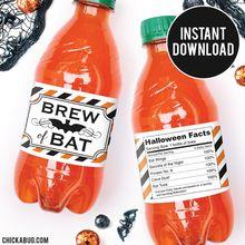 Brew of Bat Halloween Party Water Bottle Labels (INSTANT DOWNLOAD)