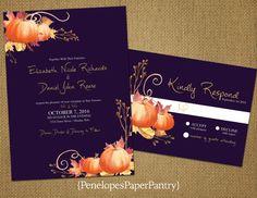 Elegant Purple Fall Theme Wedding by PenelopesPaperPantry on Etsy