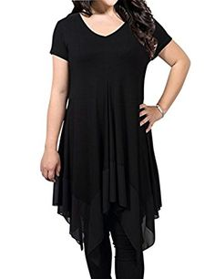be2047322b8 AMZ PLUS Women Irregular Hem Long Sleeve Loose Shirt Dress Top at Amazon  Women s Clothing store