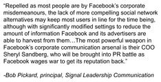My comments in a story by Bloomberg BNN on what's next for Facebook public relations