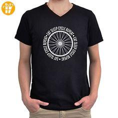 Eat sleep cycle repeat V-Ausschnitt T-Shirt (*Partner-Link)