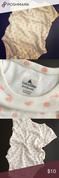Baby Gap First Favorites Dotted Onesie Perfect condition baby girl 6-12 month onesie. Vintage look with the off white & pale pink polka dots. Gap One Pieces Bodysuits