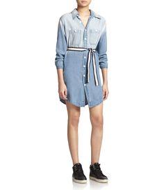 Monrow Washed Denim Shirtdress