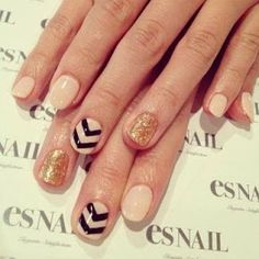 Nude manicure, with accent nails : black chevron & gold glitters