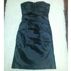 Bill Levkoff Bridesmaid Black Satin Ruched Dress Worn once for a wedding. Practically new! Includes straps. Bill Levkoff Dresses