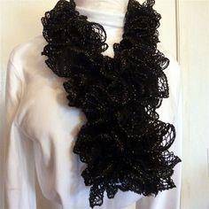 Black sashay ruffled fashion scarf by pauladyer1 on Etsy, $18.50