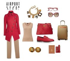 """RED-E for the Airport (contest)"" by scolab ❤ liked on Polyvore featuring Cutler and Gross, Fendi, Orla Kiely, Mark Cross, Fresh, Hensely, ESCADA, Gucci, Chanel and Hartmann"