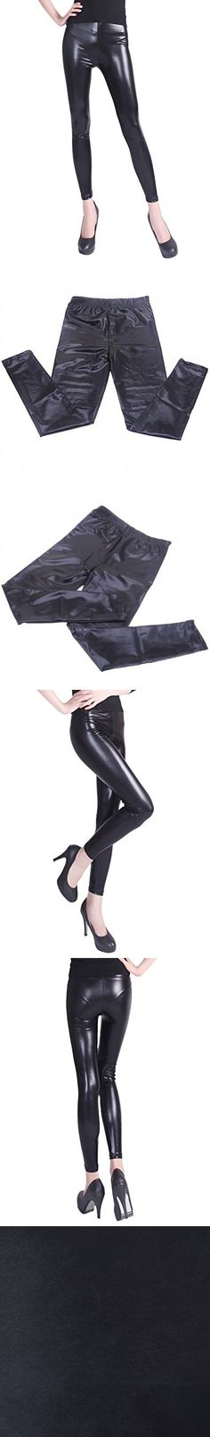 HDE Women's Shiny Leggings Metallic Wet Look Stretch Pants Clubwear (Black, XX-Large)