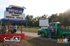 Recreate the old drive-in feel by showing a movie on inflatable movie screen by Southern Outdoor Cinema