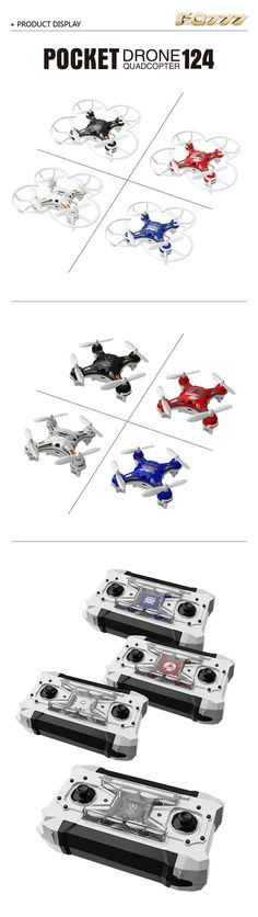 """FQ FQ777-124 Pocket Drone 4CH 6Axis Gyro Quadcopter. Product material: Modified nylon, ABS, transparent PS + K-resin, channel: 4CH, gyro: 6 axis, remote frequency: 2.4G, flight duration: About 4/'40"""" / 5/'10""""(without landing gear and protector), flight weight: 13G, remote control distance: 50 meters, recharging time: 20 mins, battery for quadcopter: 3.7V 100 mah/25C(included), battery for transmitter: 4 X AA battery (not included)..."""