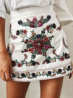 Shop White High Waist Embroidery Floral A-line Mini Skirt from choies.com .Free shipping Worldwide.$24.99