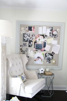 Chic Gender Neutral Nursery featuring Empire Rocker - Love the bulletin board to display lots of happy pictures and keepsakes! Empire Rocker DIY Pin Board