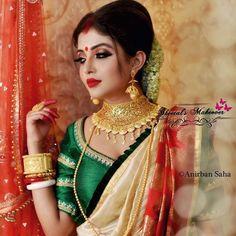 Makeup look for durga puja Bengali Saree, Bengali Bride, Bengali Wedding, Bengali Bridal Makeup, Indian Bridal Fashion, Beautiful Girl Indian, Most Beautiful Indian Actress, Beautiful Bride, Beautiful Women