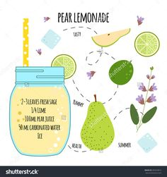 Recipe of lemonade with pear, sage, ice, lime. Vector illustration for greeting . Fruit Drinks, Yummy Drinks, Alcoholic Drinks, Smoothies, Smoothie Drinks, Recipe Drawing, Dorm Food, Herbal Magic, Recipes
