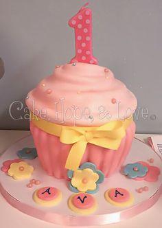 Pink & Yellow Cupcake Cake  $47.50    www.facebook.com/cakehopeandlove