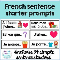French sentence starter prompts Includes: 34 sentence starters/prompts to help with oral communication and sentence generation in French classrooms (French Immersion or Core French) French Flashcards, French Worksheets, How To Speak French, Learn French, Teaching French Immersion, French Sentences, French Verbs, Communication Orale, Spanish Teaching Resources