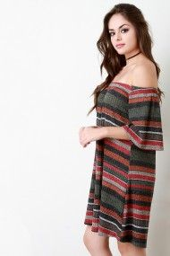 FREE SH & Easy Returns! Shop Rib Knit Multicolor Stripes Off The Shoulder Shift Dress featuring a multicolored stripes pattern, off the shoulder, and elbow bell sleeves.