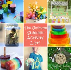 13 fun summer activities - these are different - making slime, bubble painting, sponge balls, glow jars, ect. I want to do them all!