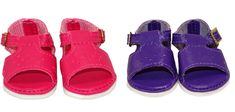 Lovely sandals with Diamond Design punch holes on the front. The fasten at the ankle with a buckle so little hands may need help. Suitable for dolls with a foot up to long and wide.Available in Fuschia or Dark Purple. Boy Doll, Girl Doll Clothes, Girl Dolls, American Girl Wellie Wishers, Wellie Wishers Dolls, Baby Alive Dolls, My Little Baby, Doll Shoes, Diamond Design