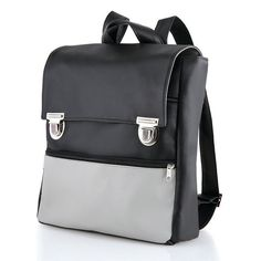 Vegan Black backpack Laptop Bag Faux leather by ClementinaBags