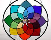Kaleidoscope - Colorful Stained Glass Panel Round