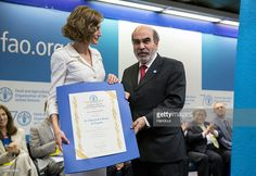 In this handout image provided by the FAO, Her Majesty Queen Letizia of Spain being appointed FAO Special Ambassador for Nutrition by FAO Director-General Jose Graziano da Silva nat the FAO Headquarters on June 12, 2015 in Rome, Italy.