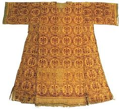 There are two actual survivals of artefacts that we know Empress Matilda owned in her lifetime. One is a dalmatic (robe) of red-gold silk, still preserved today in the Parish church of Ambazac. C12th.