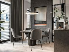 Grey dining room design ideas, from decorative neoclassical dining rooms to raw industrial dining rooms, plus grey dining tables and grey dining chair designs. Grey Dining Tables, Round Dining, Narrow Living Room, Apartment Interior Design, Dining Room Design, Dining Rooms, Interiores Design, House Design, Trends