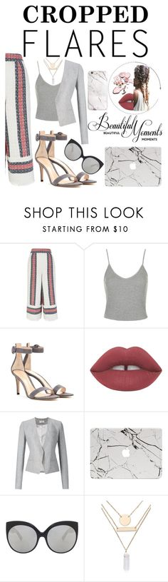 """Cropped Flares"" by lxtifa on Polyvore featuring Sea, New York, Topshop, Gianvito Rossi, Thierry Mugler, Linda Farrow Luxe, Jules Smith, women's clothing, women's fashion, women and female"