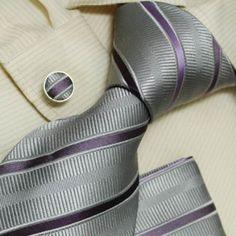 NEW Designer Silver Stripes 100% Jacquard Woven Silk Purple Tie Hanky Mens Necktie and Cuff Links Cufflinks and Handkerchiefs Set H5038