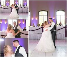 This white dance floor looks so classy with the purple uplighting and reception details. Iowa Wedding Photography | CTW Photography