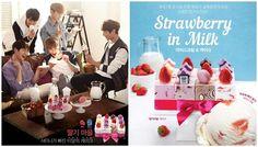 Erdbeer-Milcheis und Erdbeer-Eiskuchen #SHINee #IcecreamCake #StrawberryIcecream #Koreawelle